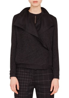 Akris Rochelle Draped-Lapel Cashmere-Silk Reversible Jacket