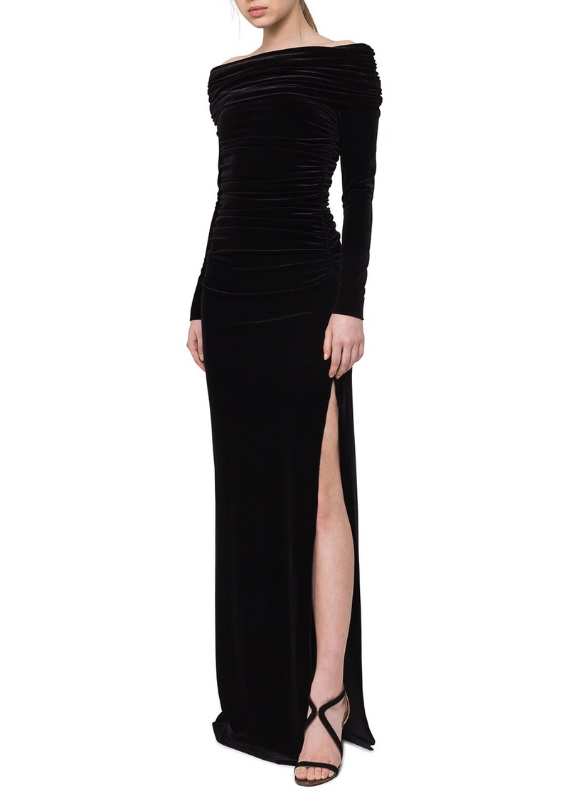 Akris Ruched Off-the-Shoulder Velvet Gown