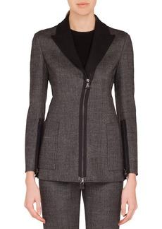 Akris Sean Zip-Front Stretch-Wool Tweed Jacket w/ Patch Pockets