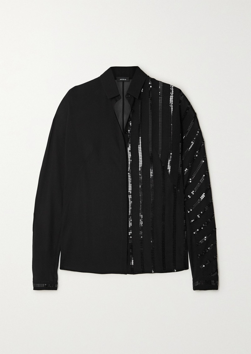 Akris Sequin-embellished Mulberry Silk-georgette Blouse