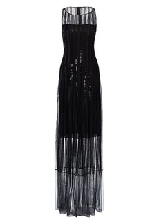 Akris Sequin Embellished Tulle Illusion Gown