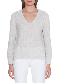 Akris Sequined Linen-Cotton V-Neck Sweater
