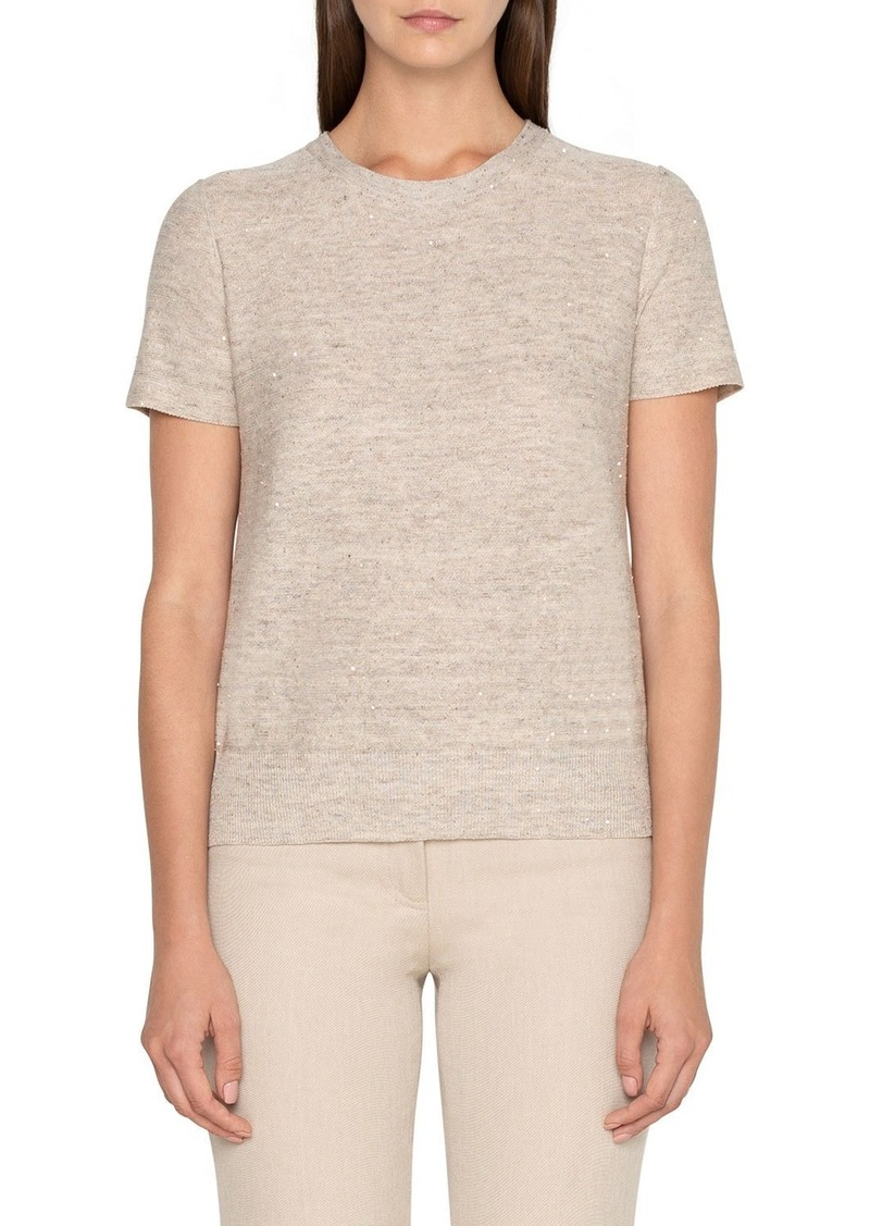 Akris Sequined Short-Sleeve Sweater