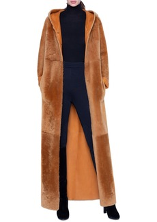 Akris Shearling Ankle-Length Hooded Coat