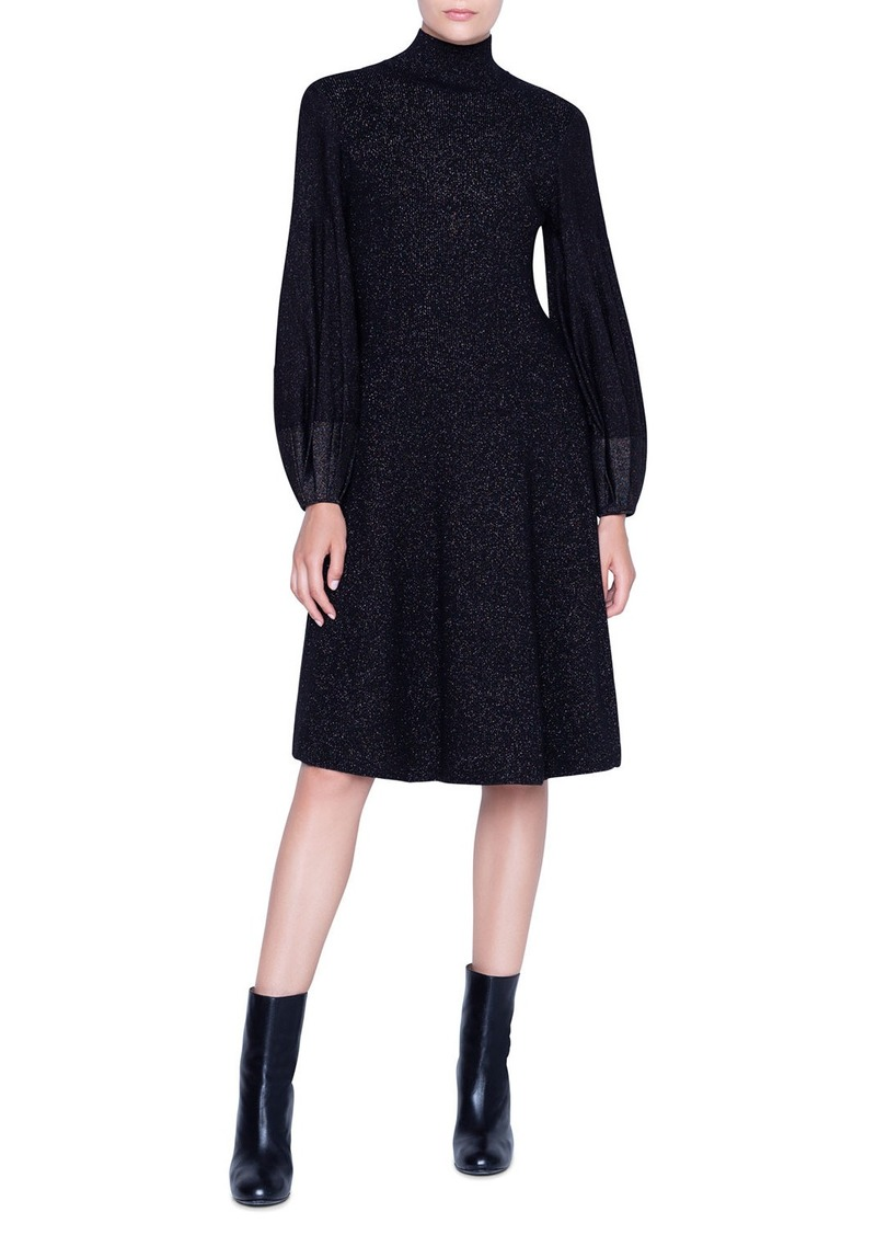 Akris Shimmer Wool-Crepe Blouson Sleeve Dress