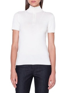Akris Short-Sleeve Front-Zip Cashmere/Silk Sweater