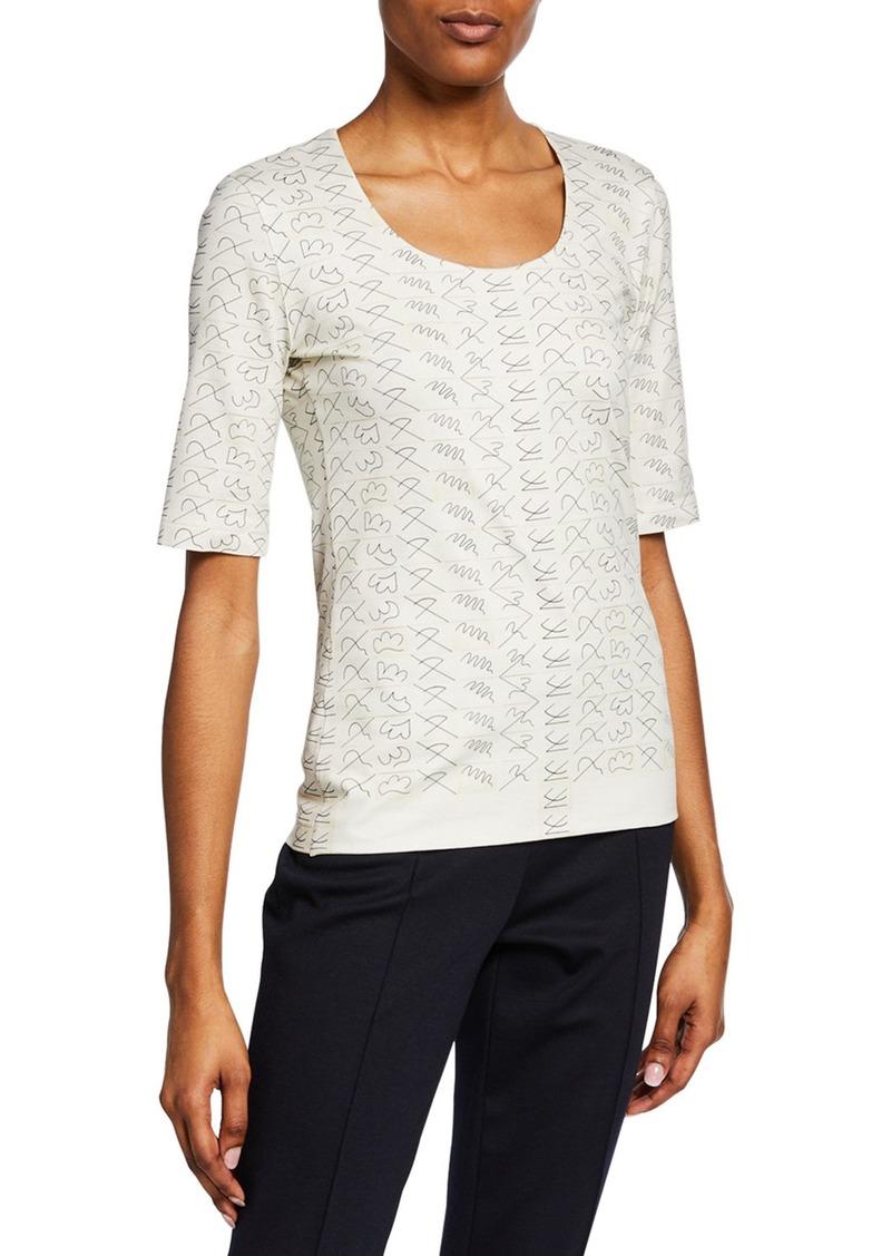 Akris Short-Sleeve Leporello Printed Cotton Jersey T-Shirt