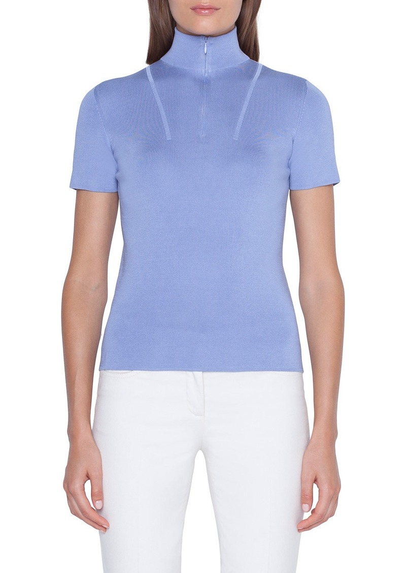 Akris Short-Sleeve Mock-Neck Sweater