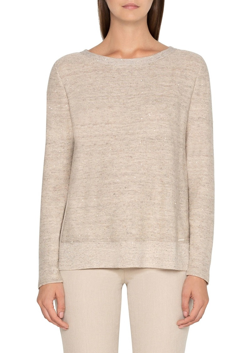 Akris Side Slit Linen Sweater