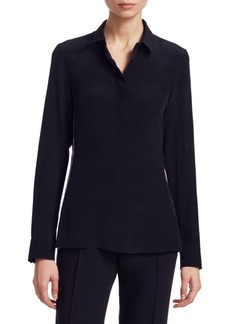 Akris Side Stripe Double Placket Silk Blouse
