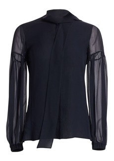 Akris Silk Georgette Tieneck Blouse