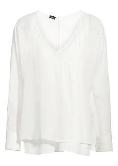 Akris Silk Georgette V-Neck Blouse