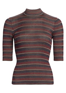 Akris Silk Knit Striped Mockneck Tee
