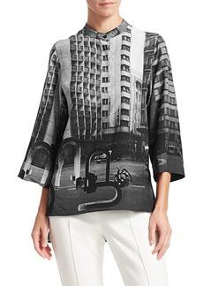 Akris Silk Magnet Photo Print Polo Blouse