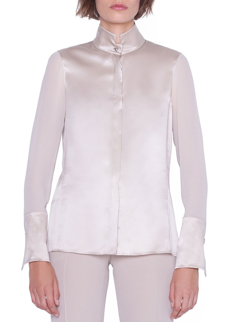 Akris Silk Satin Button-Front Blouse