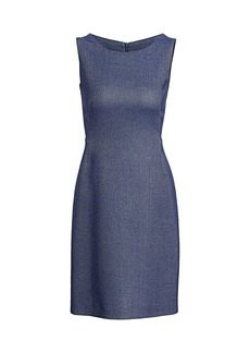 Akris Sleeveless Chambray Piqué Sheath Dress
