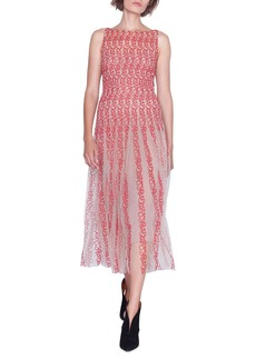 Akris Sleeveless Crazy Line Embroidered Dress