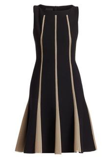 Akris Sleeveless Grid Inset Wool A-Line Dress