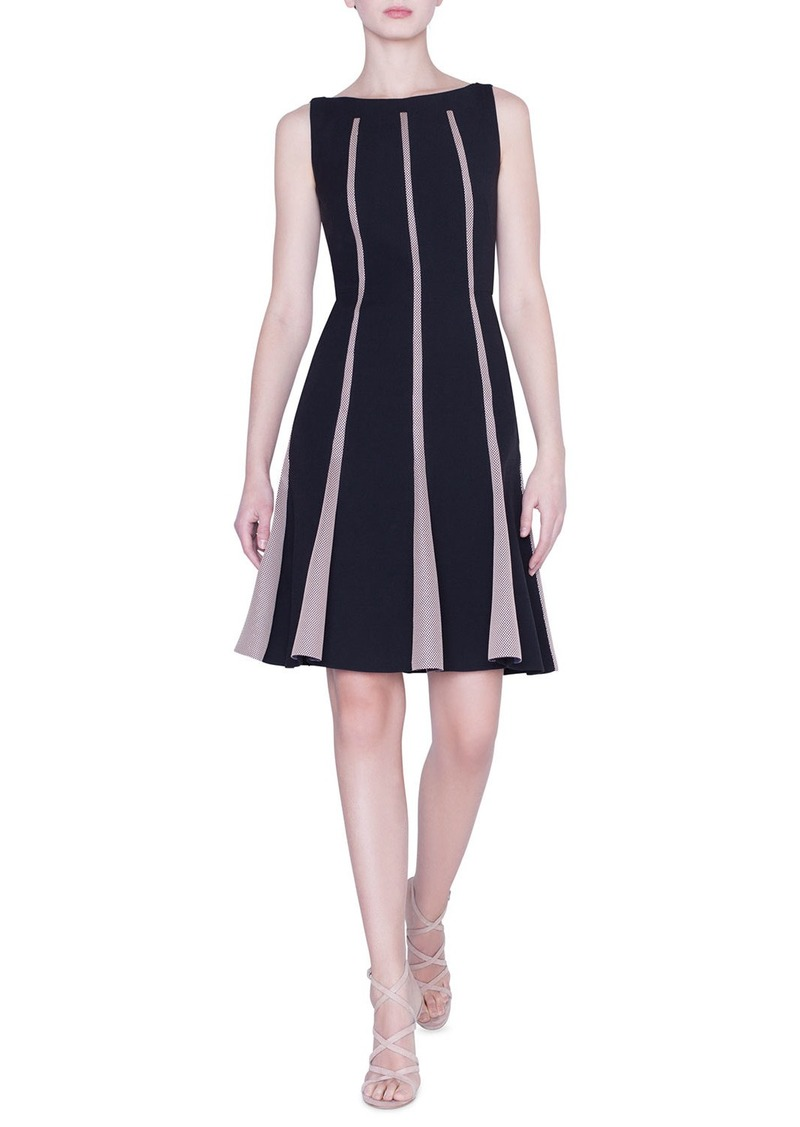 Akris Sleeveless Grid-Striped Wool Dress