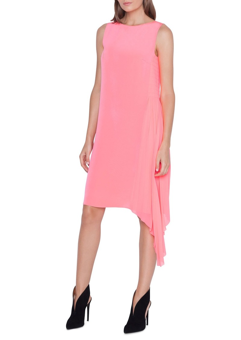 Akris Sleeveless Pleated-Side Shift Dress