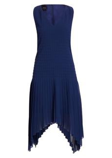 Akris Sleeveless Plissé Quilted Swing Dress