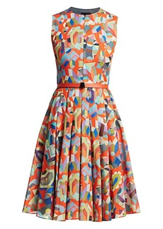 Akris Sleeveless Printed Fit-&-Flare Dress