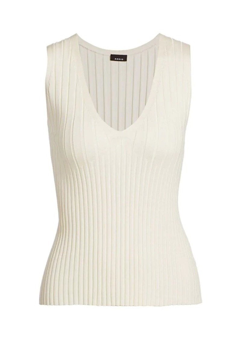 Akris Sleeveless Rib-Knit Stretch-Silk Tank Top