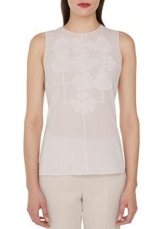 Akris Sleeveless Round-Neck Floral-Embellished Cotton Voile Blouse
