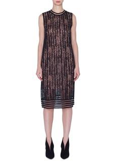 Akris Sleeveless Scribble Linen-Silk Knit Dress