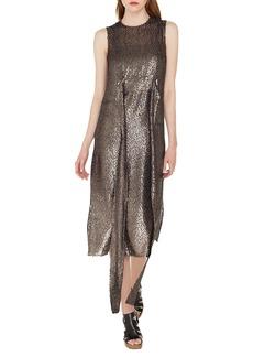 Akris Sleeveless Self-Belt A-Line Metallic Silk Devore Cocktail Dress