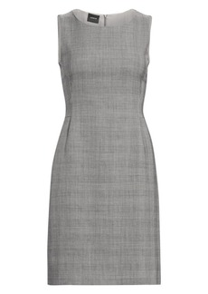 Akris Sleeveless Wool & Silk Glen Check Sheath Dress