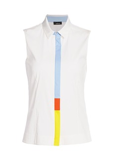 Akris Sleeveless Zip Multicolor Blouse