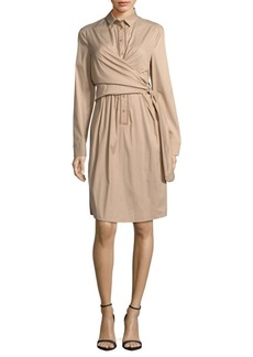 Akris Solid Wrap-Front Dress