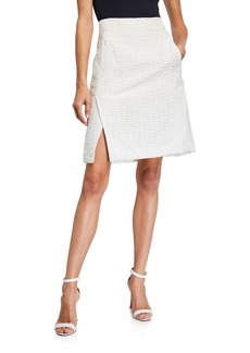 Akris square Pattern Silk-Blend Vented Skirt