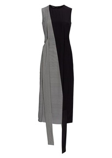 Akris Stripe Asymmetric Patchwork Stripe Silk Sheath Dress