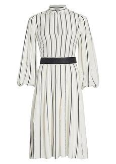 Akris Stripe Long-Sleeve Silk Puff-Sleeve Midi Shirtdress
