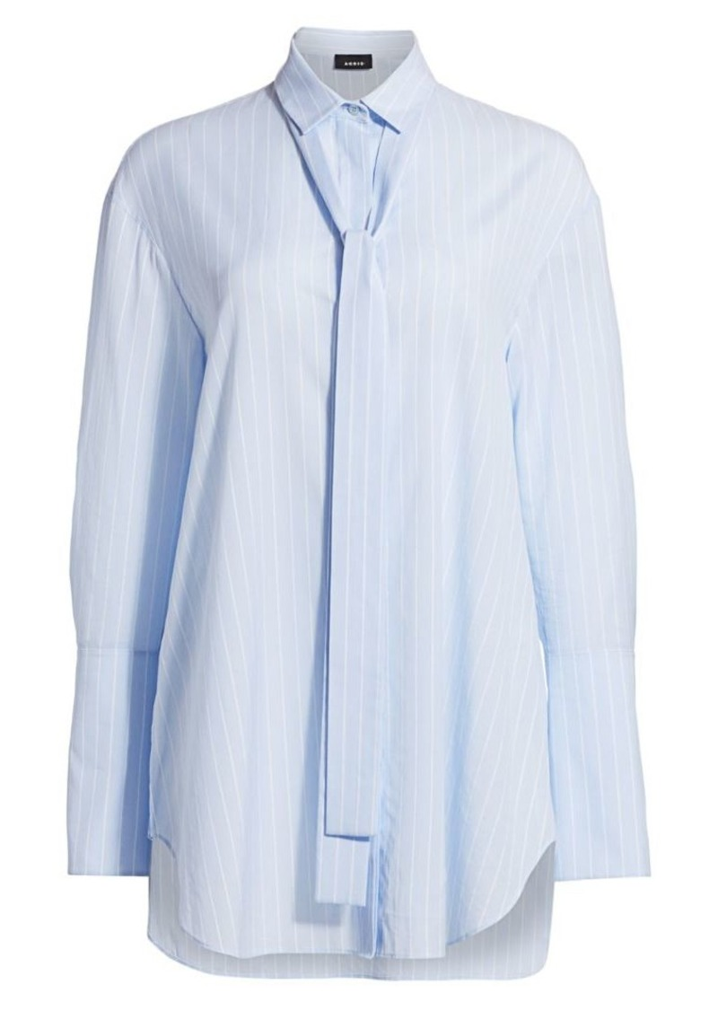 Akris Striped Cotton Poplin Tie-Neck Blouse