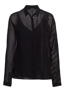 Akris Striped Sequin Blouse