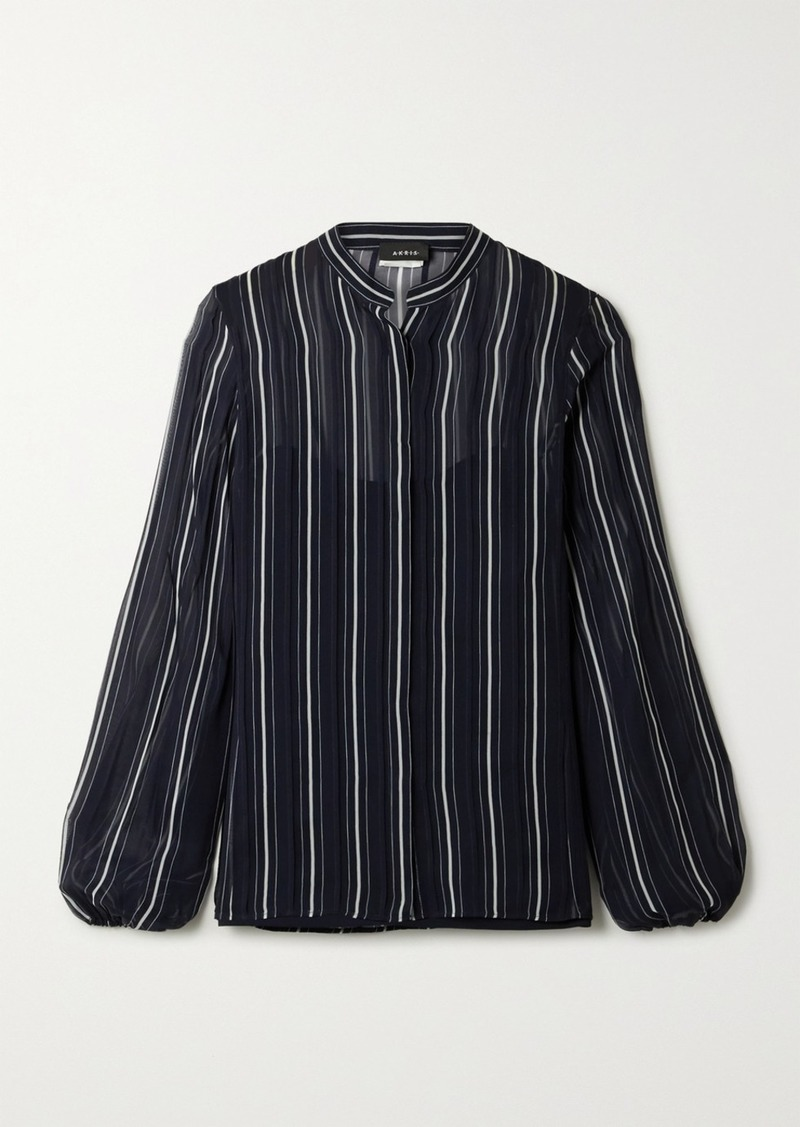 Akris Striped Silk-georgette Shirt