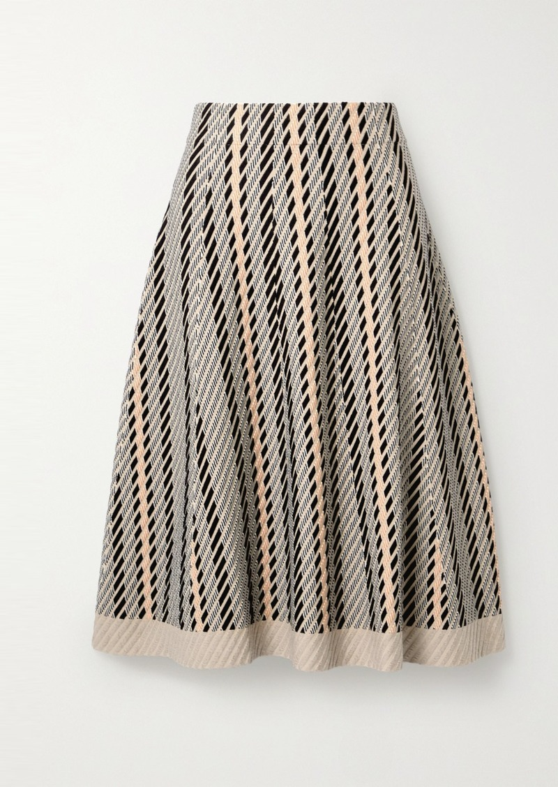 Akris Striped Textured Wool-blend Midi Skirt