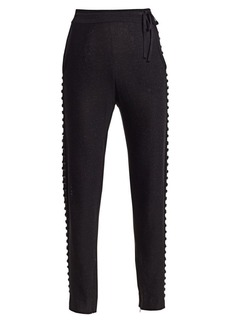 Akris Studded Lurex Silk-Knit Pants