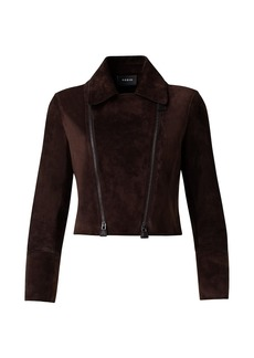 Akris Suede Moto Cropped Jacket