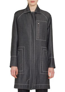 Akris Tate Zip-Front Denim Parka Jacket w/ Topstitching