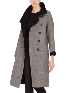 Akris Terrance Reversible Stand-Collar Button-Panel Houndstooth Wool Coat