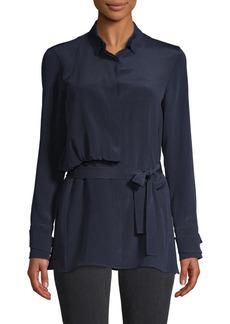 Akris Tie-Front Silk Shirt