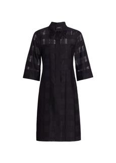 Akris Tonal Check A-Line Shirtdress