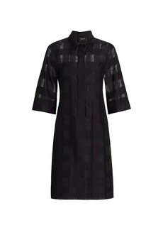 Akris Tonal Check A-Line Shirtdress