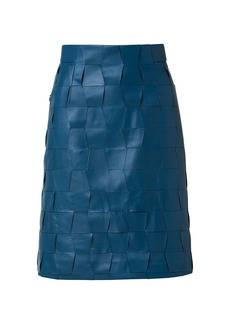 Akris Trapezoid Woven Leather A-Line Skirt