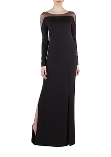 Akris Tulle-Shoulder Silk Crepe Gown