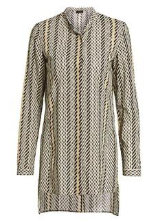 Akris Tweed-Print Long-Sleeve Wool Blouse